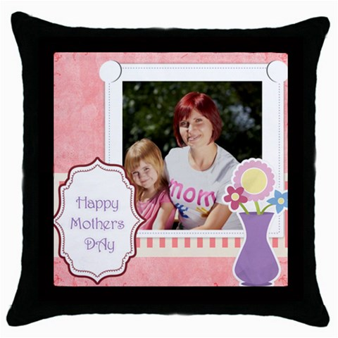 Mothers Day By Jacob   Throw Pillow Case (black)   2hlrlruyrim0   Www Artscow Com Front