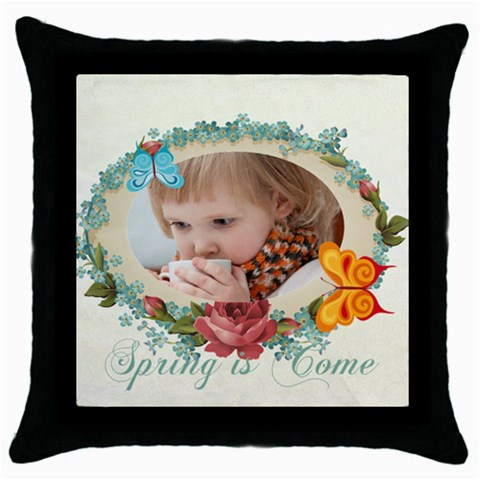 Easter, Spring, Kids, Flower By Jacob   Throw Pillow Case (black)   Reuatzp3m3xq   Www Artscow Com Front