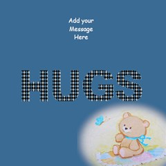 Teddy Hugs Blue 3d Greeting Card By Deborah   Hugs 3d Greeting Card (8x4)   Niaxklcqkdmm   Www Artscow Com Inside