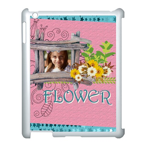 Flower , Kids, Happy, Fun, Green By Jacob   Apple Ipad 3/4 Case (white)   Uu74s8oj4z9i   Www Artscow Com Front