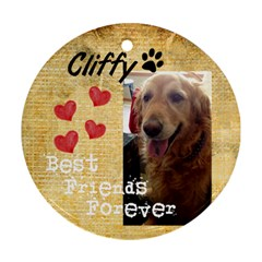 Cliffy By Sherry Olford   Round Ornament (two Sides)   Ahtqbl1iuqi0   Www Artscow Com Front