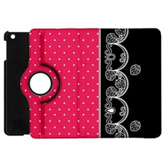 Lace Dots With Black Pink Apple Ipad Mini Flip 360 Case