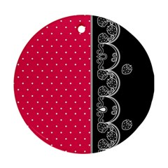 Lace Dots With Black Pink Ornament (round) by strawberrymilk