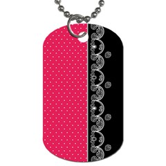 Lace Dots With Black Pink Dog Tag (one Side) by strawberrymilk