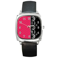 Lace Dots With Black Pink Square Metal Watch
