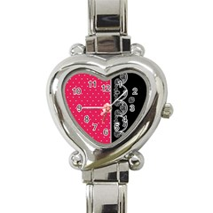 Lace Dots With Black Pink Heart Italian Charm Watch by strawberrymilk