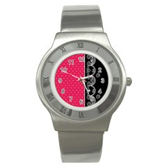 Lace Dots With Black Pink Stainless Steel Watch by strawberrymilk
