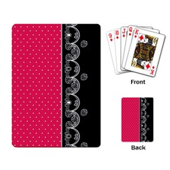 Lace Dots With Black Pink Playing Cards Single Design by strawberrymilk