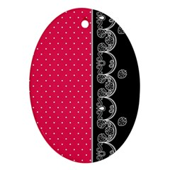 Lace Dots With Black Pink Oval Ornament (two Sides) by strawberrymilk