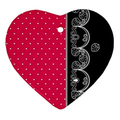 Lace Dots With Black Pink Heart Ornament (two Sides) by strawberrymilk