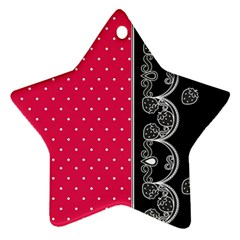 Lace Dots With Black Pink Star Ornament (two Sides) by strawberrymilk