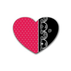Lace Dots With Black Pink Rubber Coaster (heart) by strawberrymilk