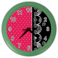 Lace Dots With Black Pink Color Wall Clock by strawberrymilk