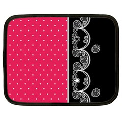Lace Dots With Black Pink Netbook Case (large)	 by strawberrymilk