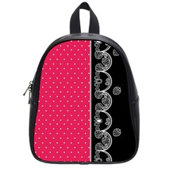 Lace Dots With Black Pink School Bag (small) by strawberrymilk