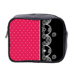 Lace Dots With Black Pink Mini Toiletries Bag (two Sides) by strawberrymilk