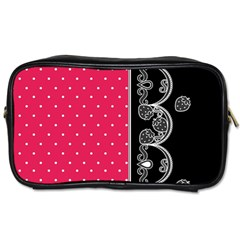 Lace Dots With Black Pink Toiletries Bag (two Sides) by strawberrymilk