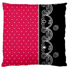 Lace Dots With Black Pink Large Cushion Case (two Sides) by strawberrymilk