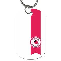 Brand Ribbon Pink With White Dog Tag (one Side)