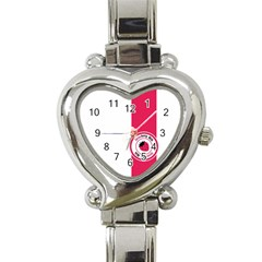 Brand Ribbon Pink With White Heart Italian Charm Watch