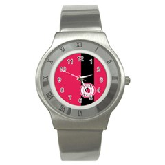 Brand Ribbon Black With Pink Stainless Steel Watch by strawberrymilk