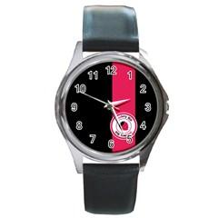 Brand Ribbon Pink With Black Round Metal Watch