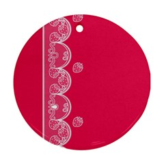 Strawberry Lace White With Pink Ornament (round) by strawberrymilk