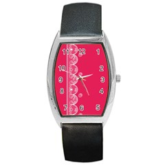 Strawberry Lace White With Pink Barrel Style Metal Watch by strawberrymilk