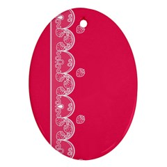 Strawberry Lace White With Pink Oval Ornament (two Sides) by strawberrymilk