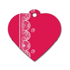 Strawberry Lace White With Pink Dog Tag Heart (two Sides) by strawberrymilk