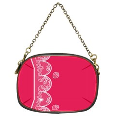 Strawberry Lace White With Pink Chain Purse (two Sides)