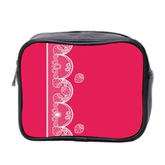 Strawberry Lace White With Pink Mini Toiletries Bag (two Sides) by strawberrymilk