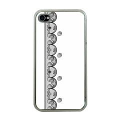 Lace White Dots White With Black Apple Iphone 4 Case (clear) by strawberrymilk