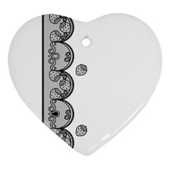 Lace White Dots White With Black Ornament (heart) by strawberrymilk