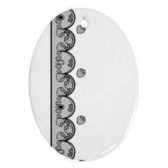 Lace White Dots White With Black Oval Ornament (two Sides)