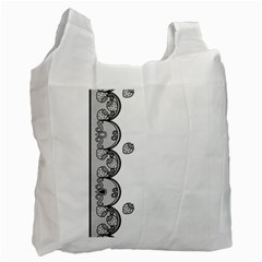 Lace White Dots White With Black Recycle Bag (two Side) by strawberrymilk