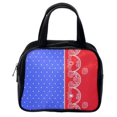 Lace Dots With Rose Purple Classic Handbag (one Side)