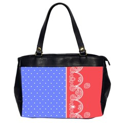 Lace Dots With Rose Purple Oversize Office Handbag (Two Sides)
