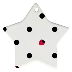 Strawberry Dots Black Ornament (star) by strawberrymilk