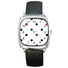 Strawberry Dots Black Square Metal Watch by strawberrymilk