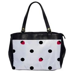 Strawberry Dots Black Oversize Office Handbag (one Side)