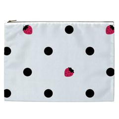 Strawberry Dots Black Cosmetic Bag (xxl)