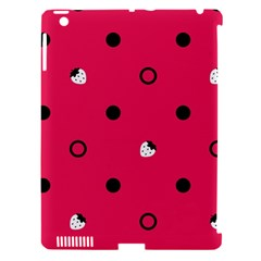 Strawberry Dots Black With Pink Apple Ipad 3/4 Hardshell Case (compatible With Smart Cover) by strawberrymilk