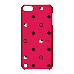 Strawberry Dots Black With Pink Apple iPod Touch 5 Hardshell Case with Stand
