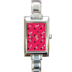 Strawberry Dots Black With Pink Rectangular Italian Charm Watch by strawberrymilk