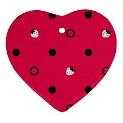 Strawberry Dots Black With Pink Ornament (heart)