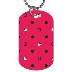 Strawberry Dots Black With Pink Dog Tag (one Side) by strawberrymilk