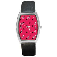 Strawberry Dots Black With Pink Barrel Style Metal Watch by strawberrymilk