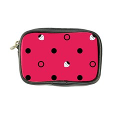 Strawberry Dots Black With Pink Coin Purse by strawberrymilk
