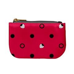 Strawberry Dots Black With Pink Mini Coin Purse